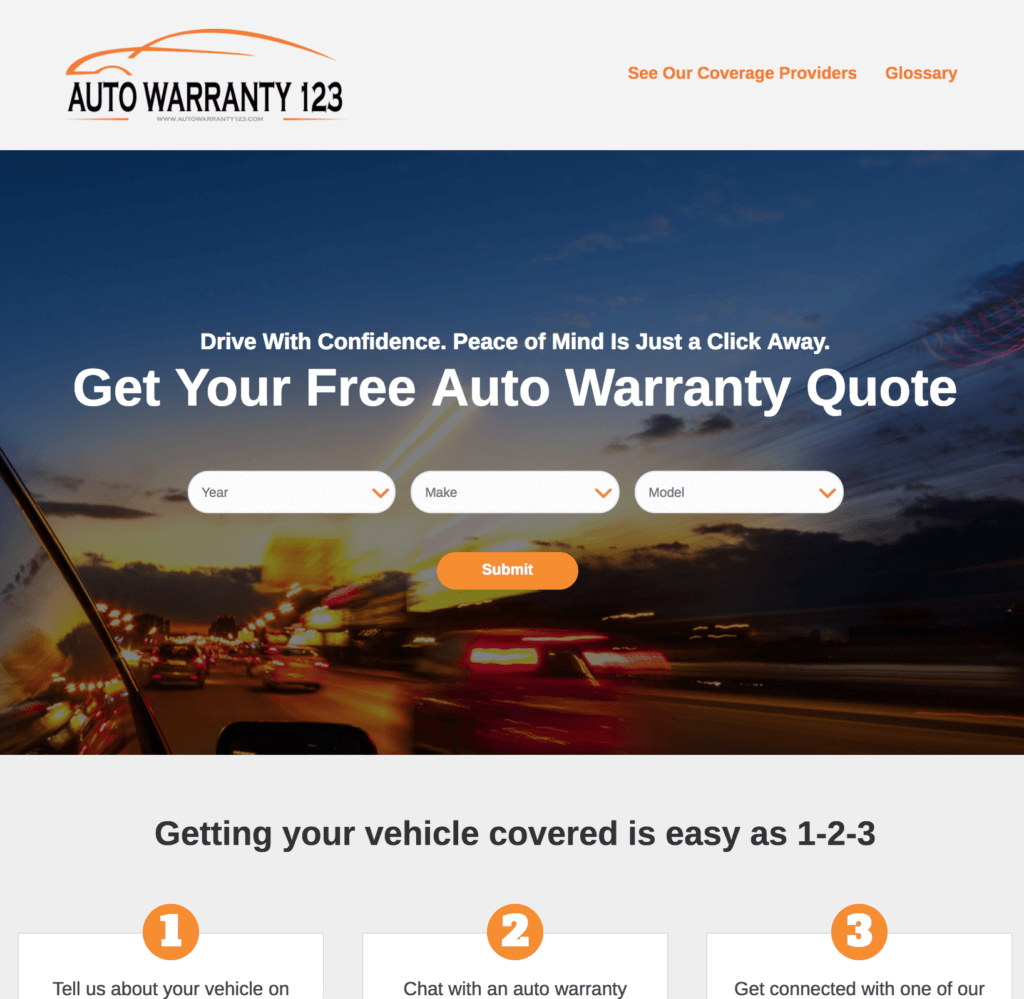 Website home page for AutoWarranty123.com